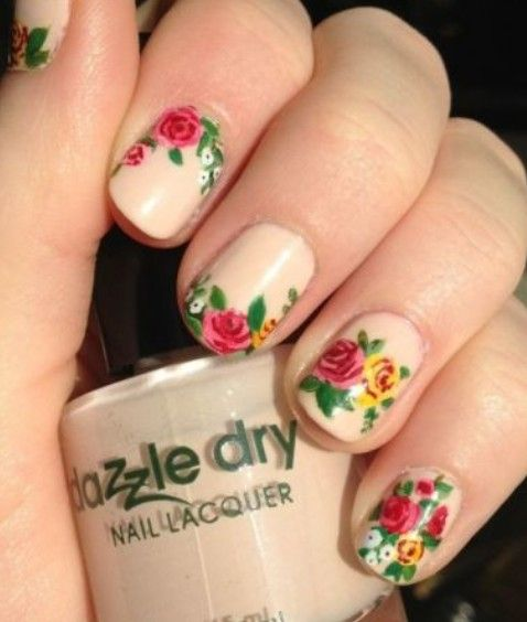 Faded Brown Nails with Colorful Rose Design Nail Art