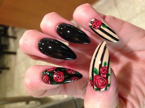Stiletto Black Nails with Red Rose Design Nail Art