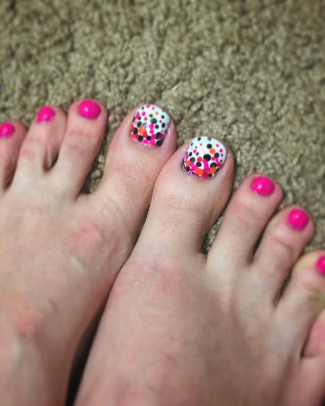 Awesome and Colorful Polka Dots Nail Art Design for Toe