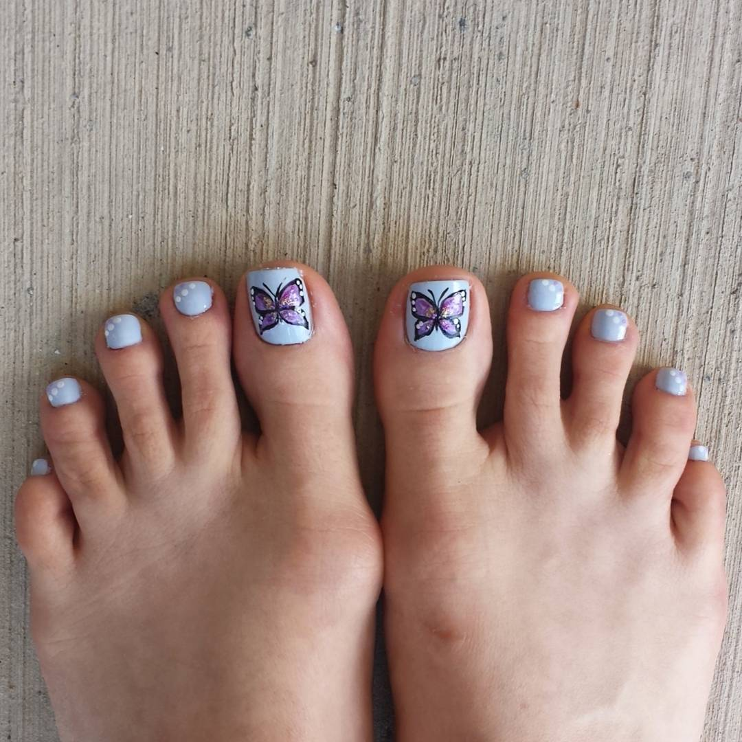 Tiny Cute Butterfly Nail Art for Toe