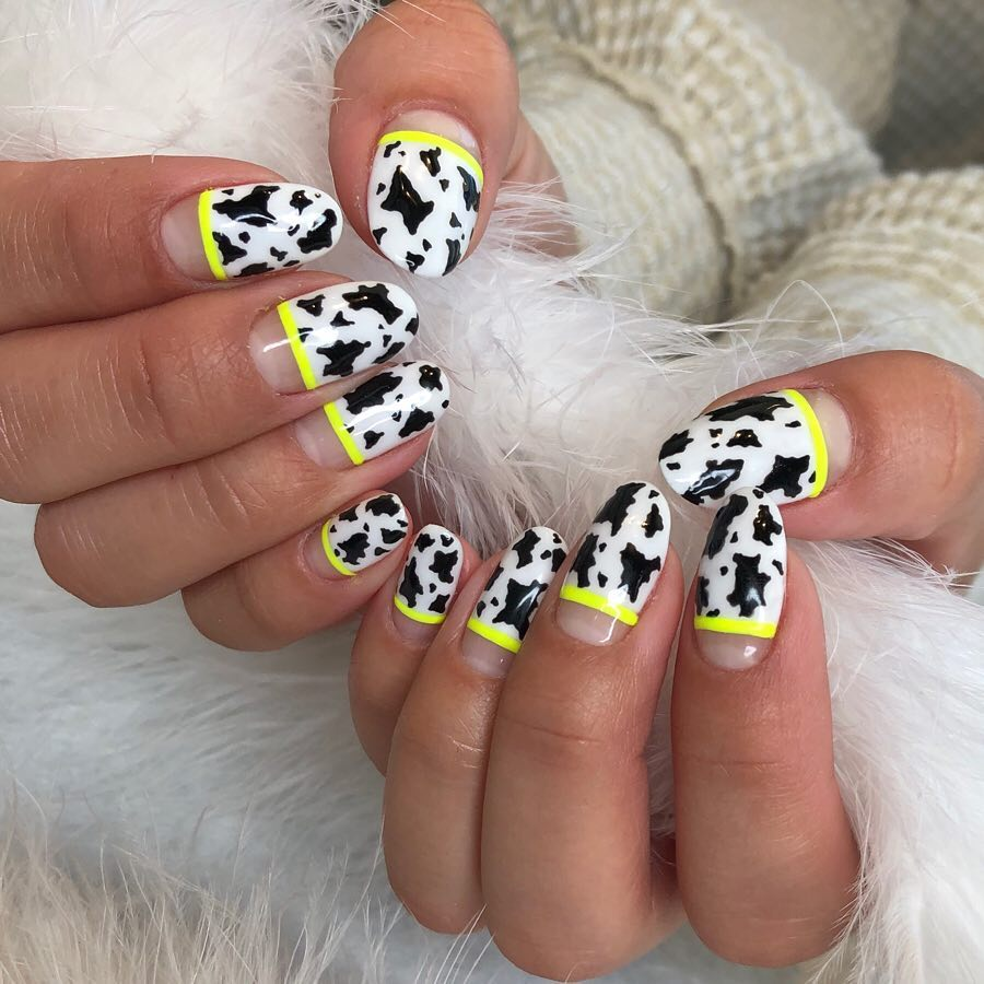 Yellow Partition Line with Cow Design Nail Art