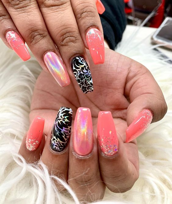 Awesome Pink Coffin Nails with Exceptional Black Floral Design and Beads Decorated