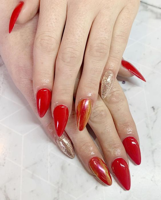 Blood Red Amazing Nails with Exceptional Best Nail Art