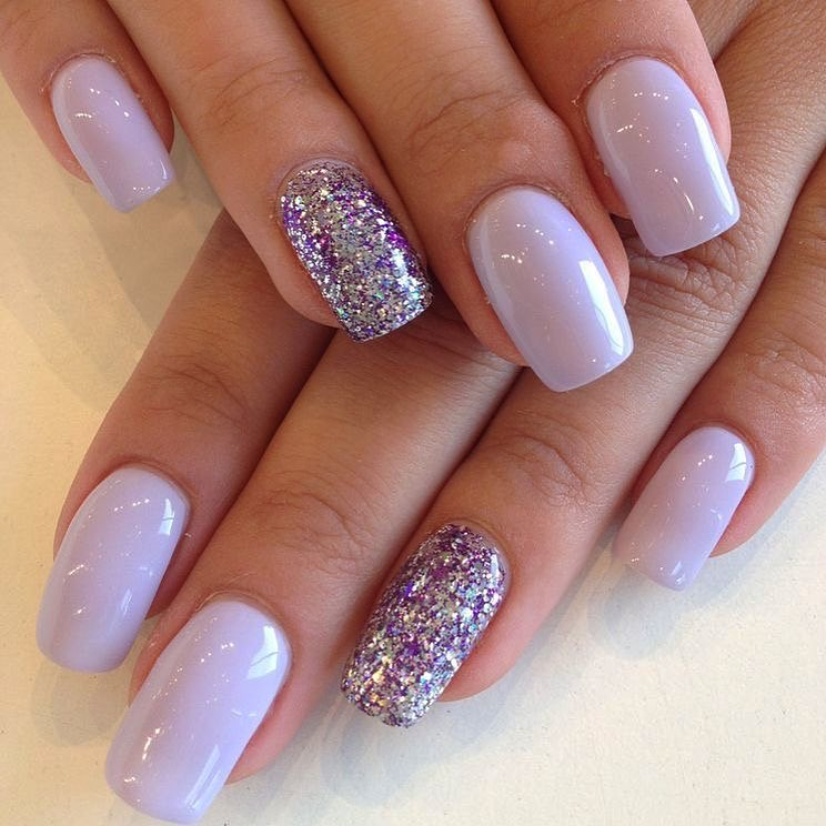 Amazing Light Purple Nails with Exceptional Glittery Nail Art