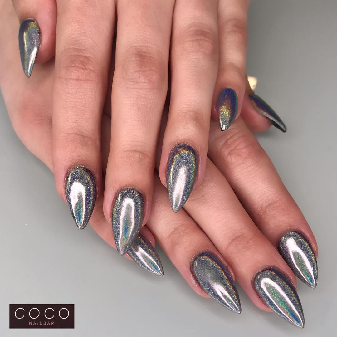 Gray Shimmery Stiletto Nails for Winters