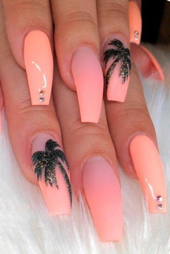 Palm Design Amazing Nail Art for Matte Pink Nails