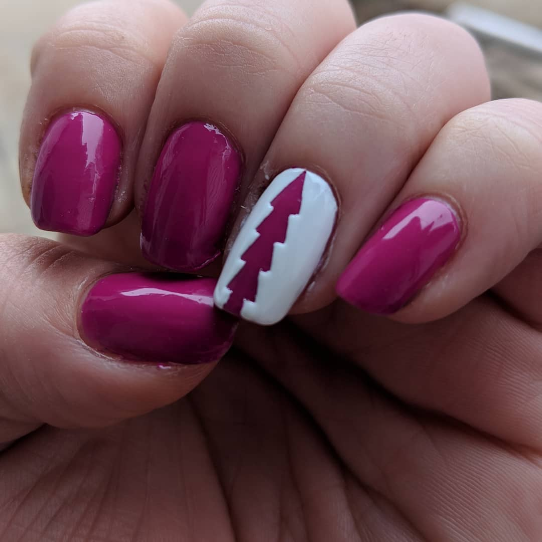 Tree Design Best Pink Nail Art for Square Nails