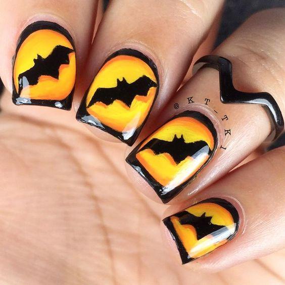 Batman Scary Halloween Nail Art Ideas