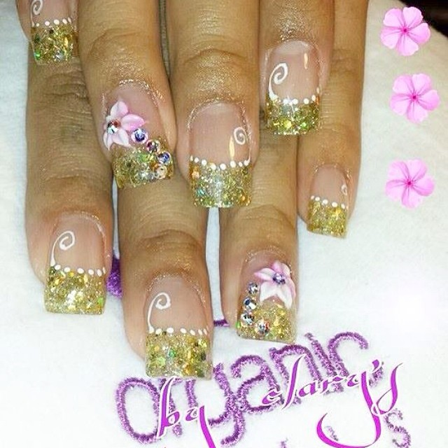 Shimmery Golden Tips with Floral Design