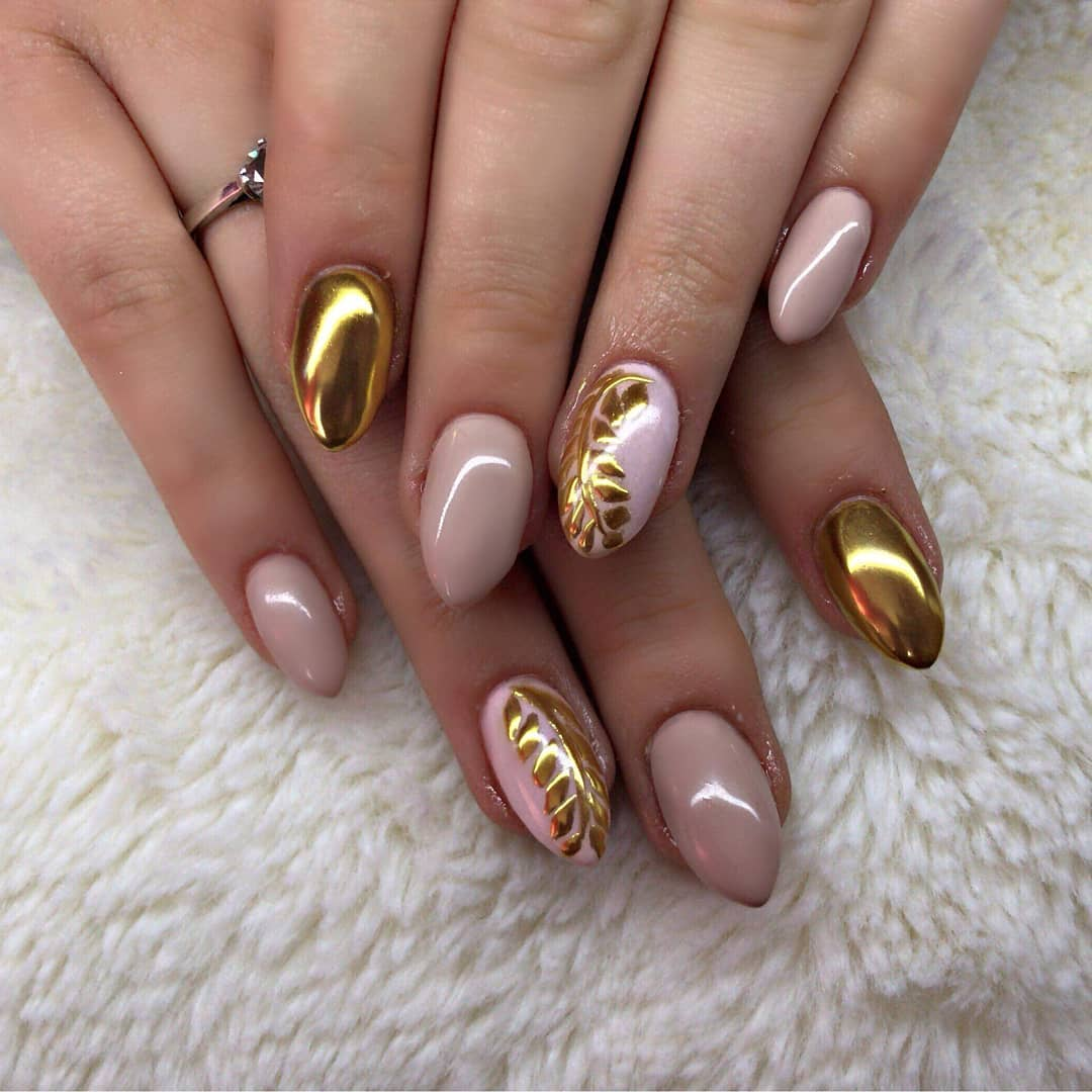 Fabulous Pink Nails with Golden Leaves Design Nail Art