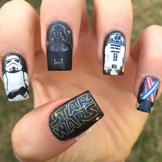 Star Wars Theme Halloween Black Polish Holiday Nails For Square Shapes