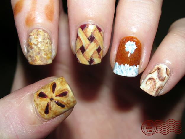 Yummy Pies and Tarts Thanksgiving Holiday Nail Art For Square Nails