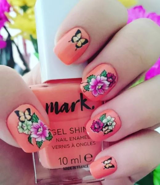 Calling For Spring Floral Art Done On Nails