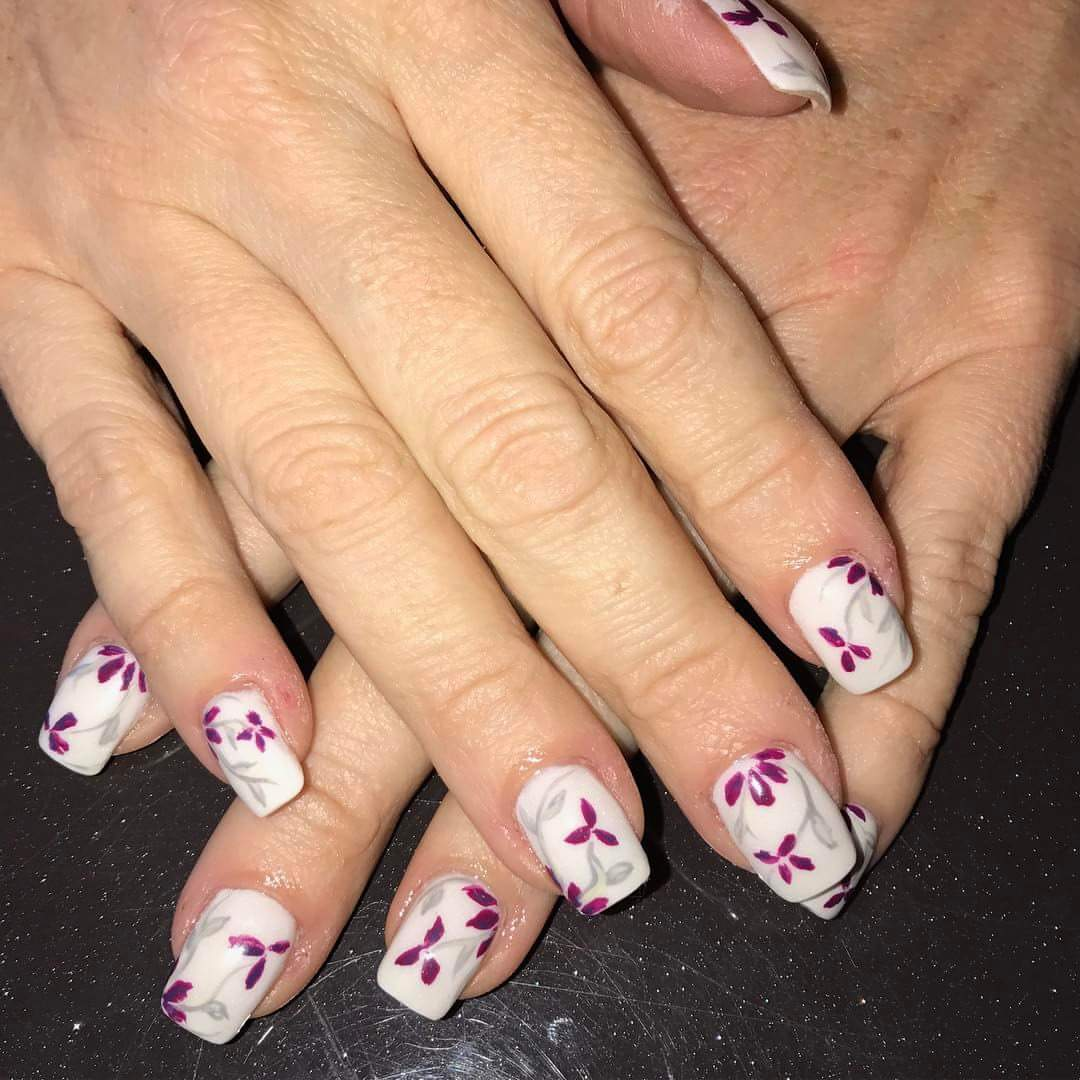 Branches Of Flowers In Purple With White Base For Nails