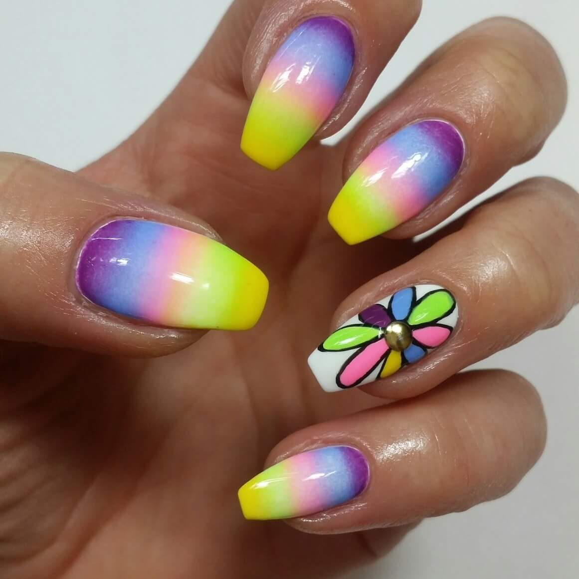 Rainbow Shaded Nails With Rainbow Colored Flower