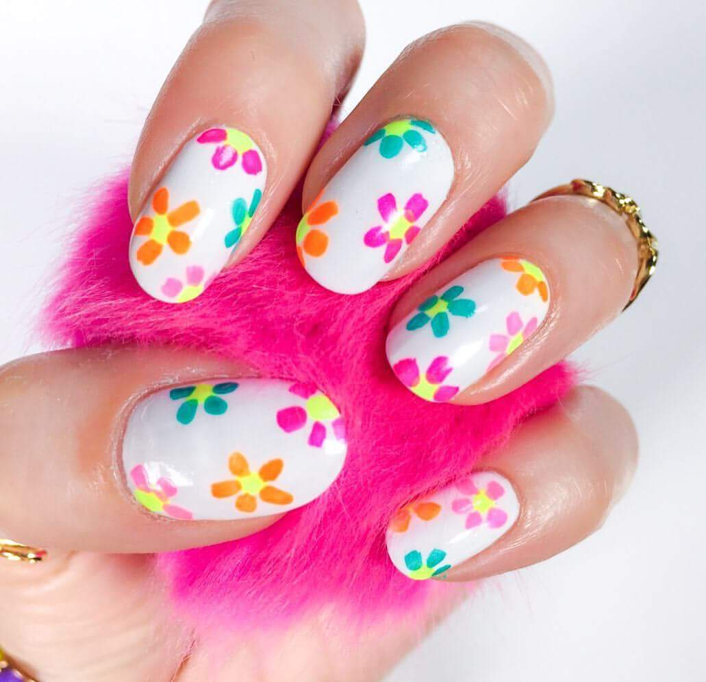 Neon Flowers On White Nail Base