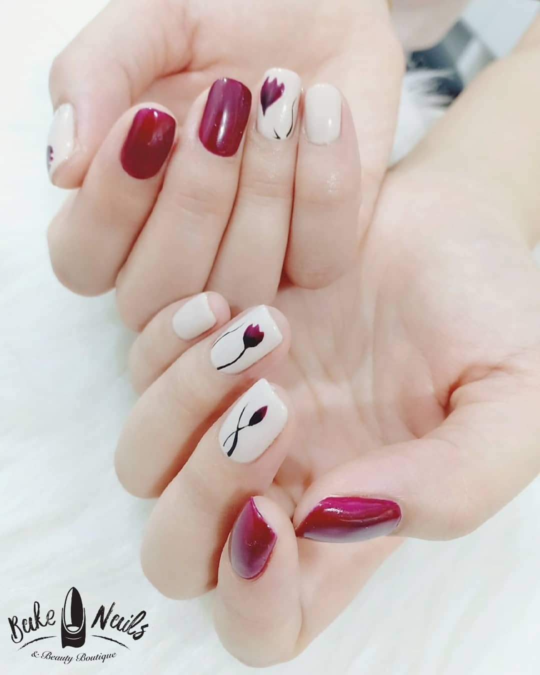 Cute Pink and White Nails with Flower Nail Art