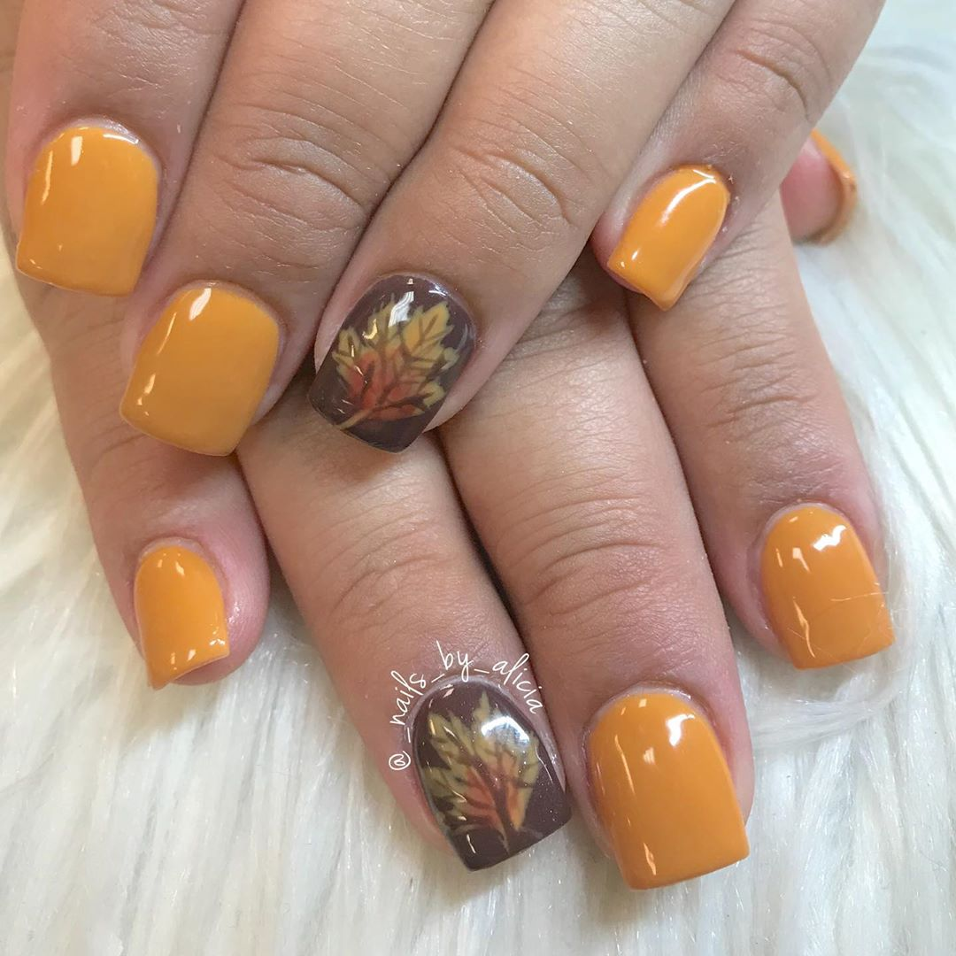 orange nails for fall