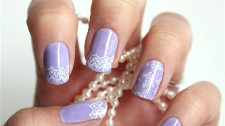Light Violet color Bridal Nail