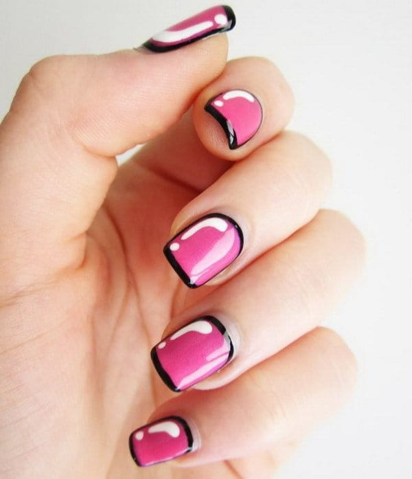 pink and black nail designs for women