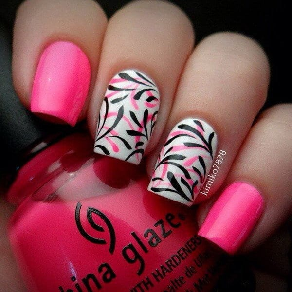 pink and black nail designs 8