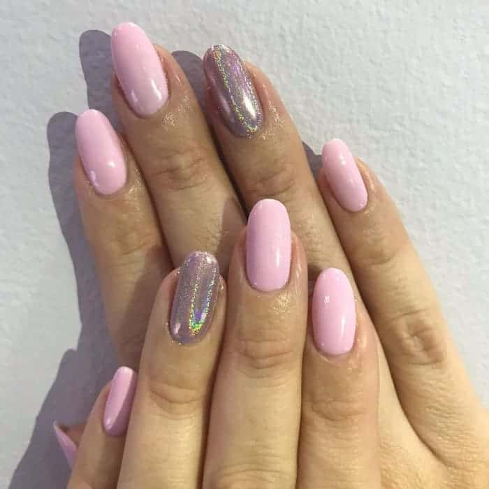 baby pink holographic nails