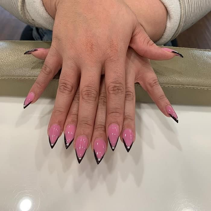 black and pink french tip nails