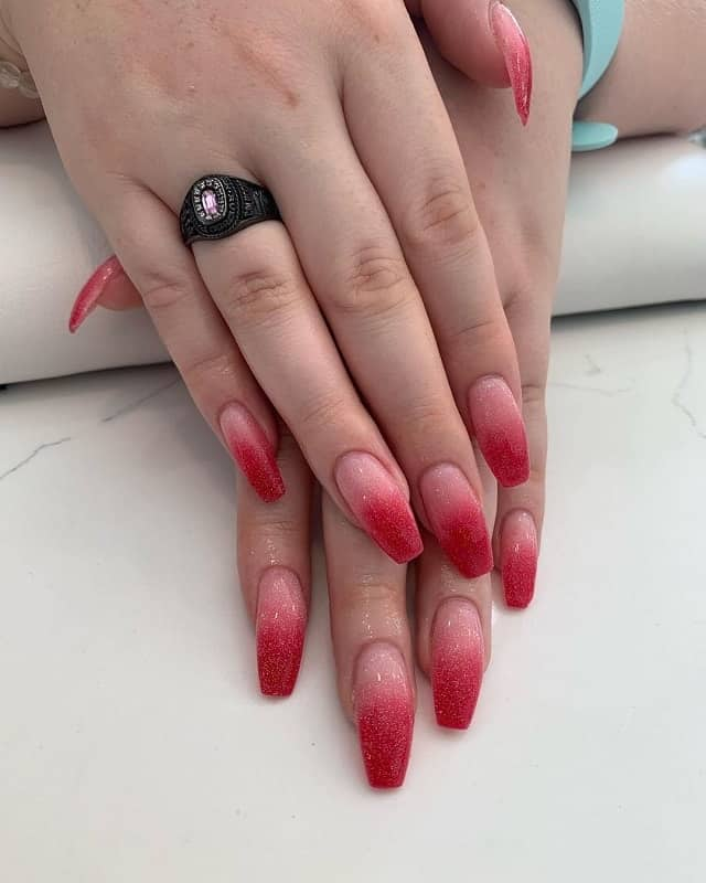 pink and red ombre nails