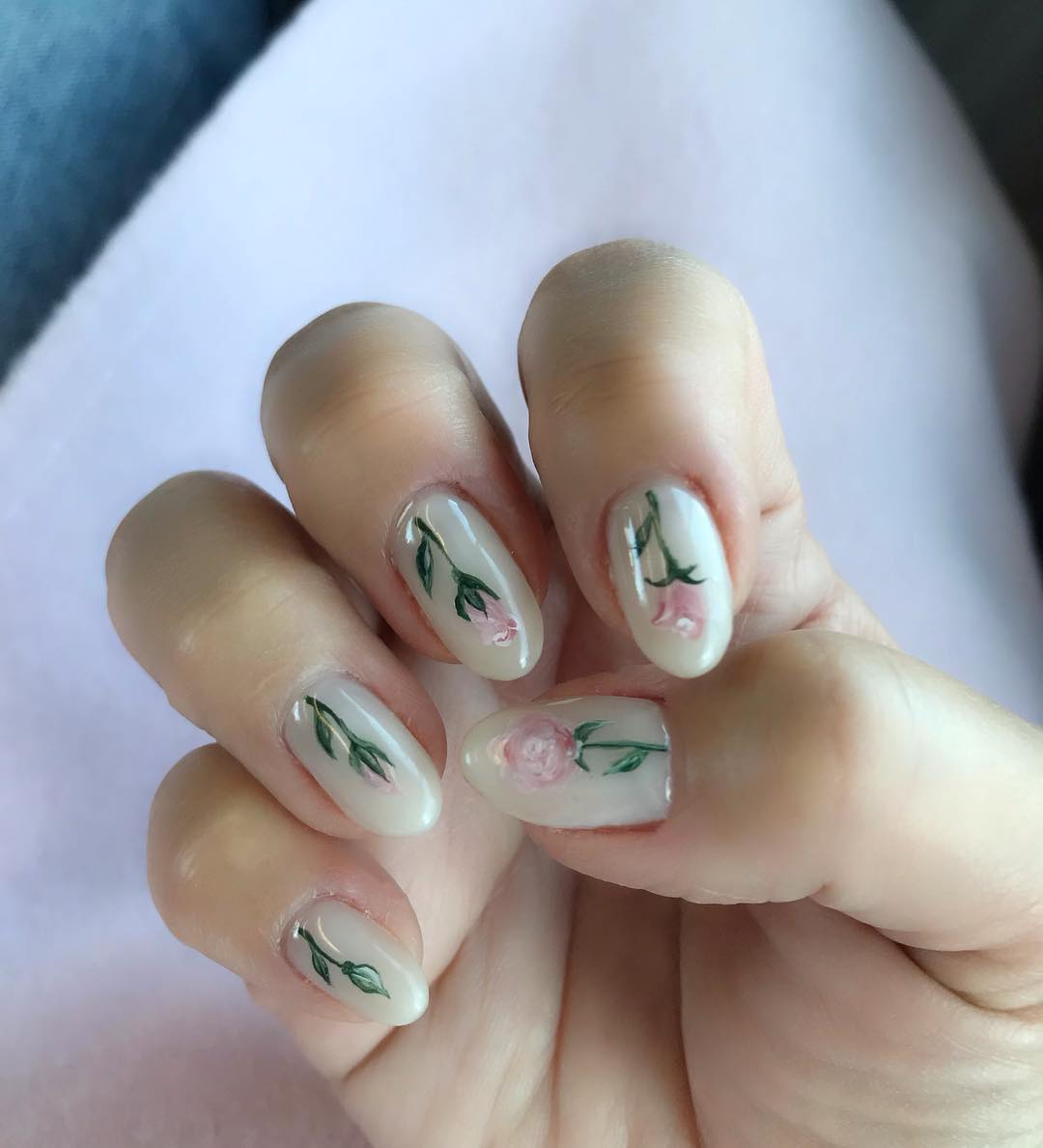 Adorable and Simple White Nails with Baby Pink Floral Nail Art