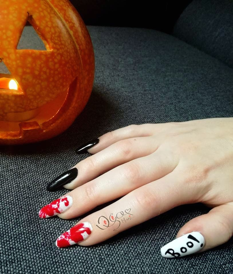 Adorable Red and Black Nail Art for Long Almond Style Nails
