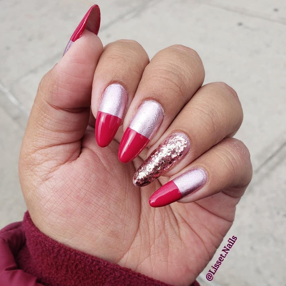 Alluring Pink Tips Nail Art with Shimmery Silver Design