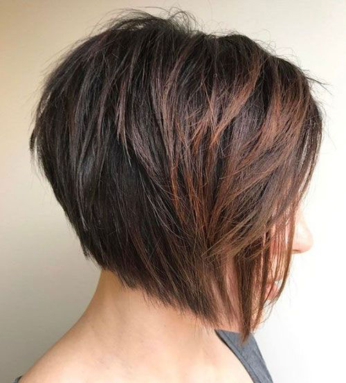 Short Inverted Stacked Bob Haircuts for Women with Thick Hair-13
